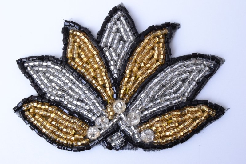 Flower design, beads and spangles