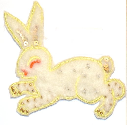 Rabbit design, beads and spangles