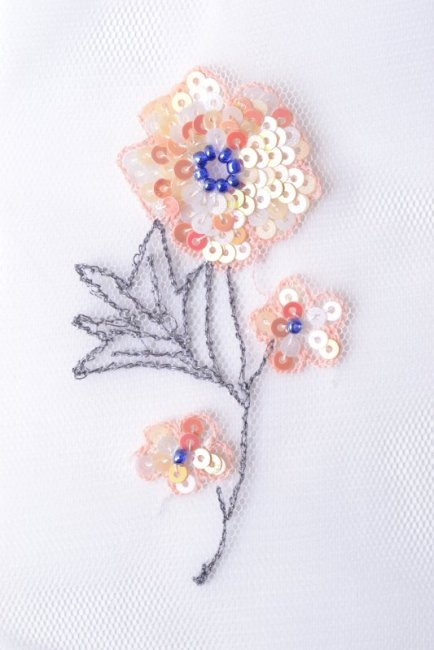 Flower design, beads and spangles on tulle
